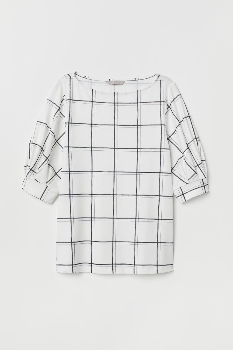 Jersey crêpe top - White/Checked - Ladies | H&M IE