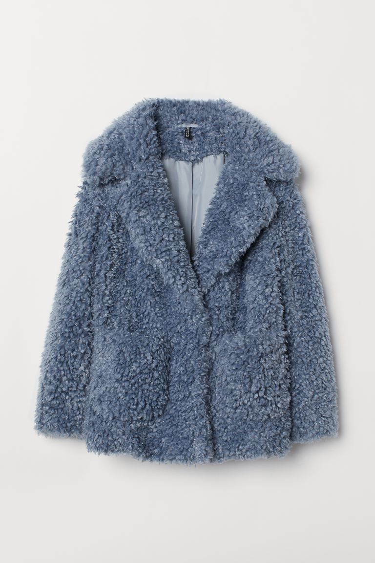 Faux fur jacket - Dusky blue - Ladies | H&M GB
