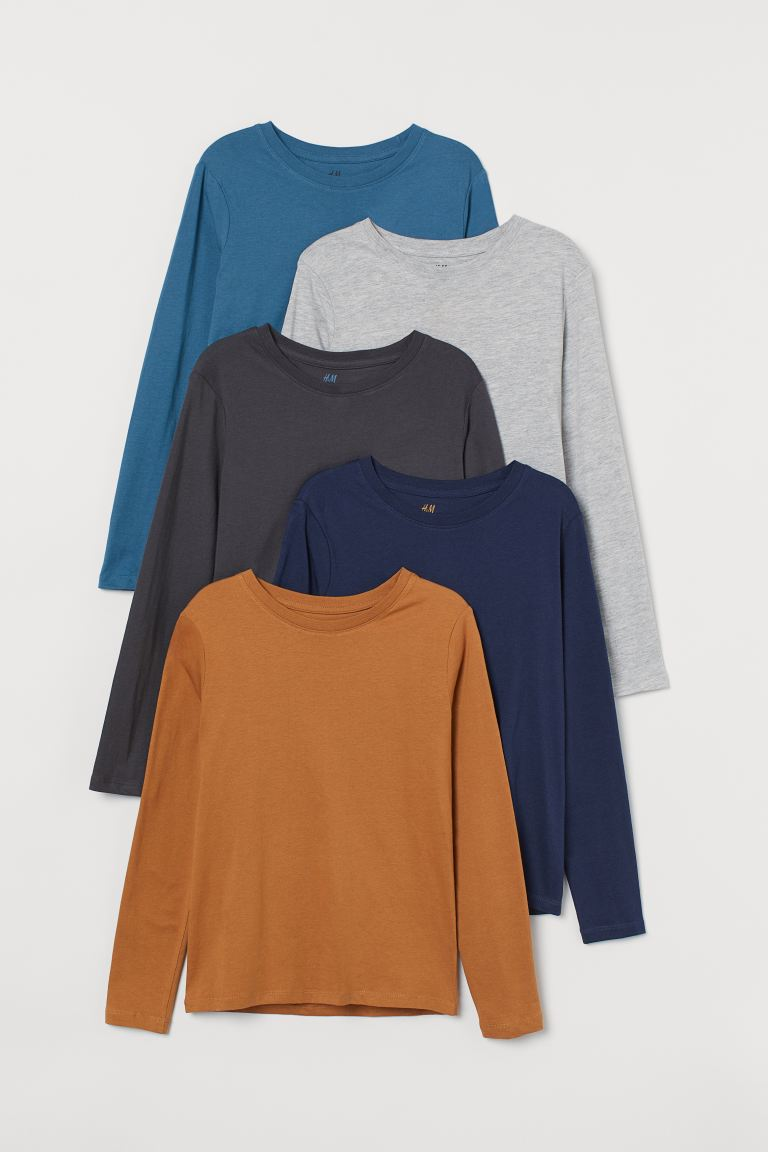 5-pack jersey tops - Dark beige/Dark blue - Kids | H&M