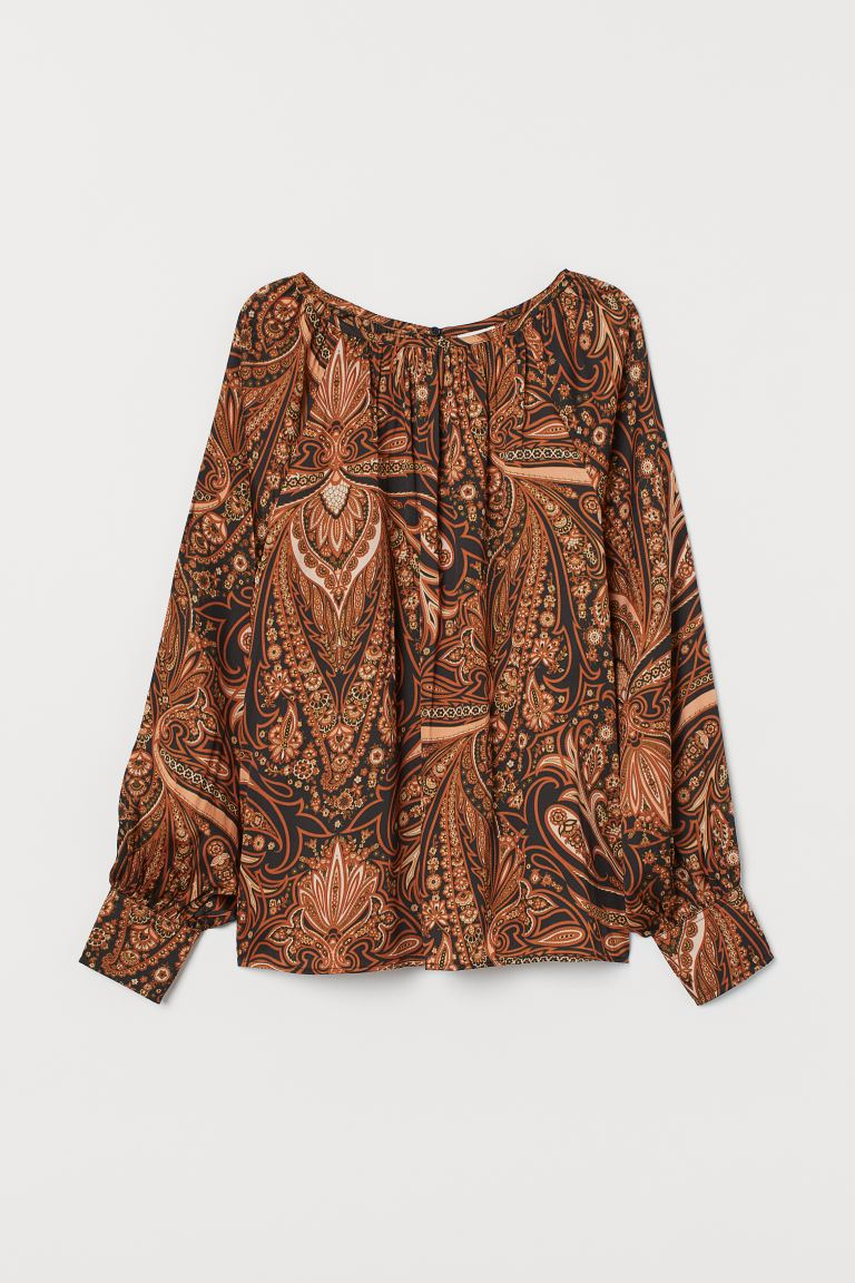Patterned satin blouse - Rust brown/Paisley-patterned - Ladies | H&M