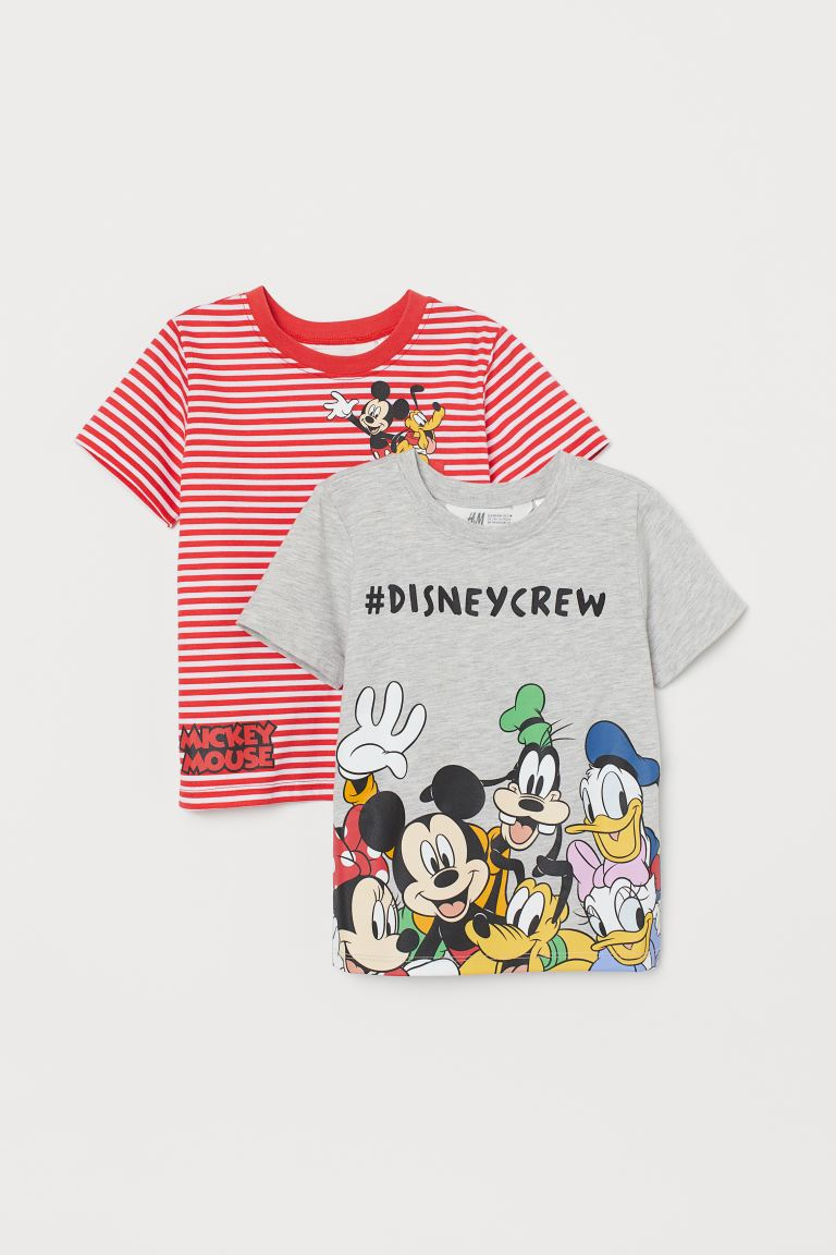 2-pack printed T-shirts - Red striped/Mickey Mouse -  | H&M GB