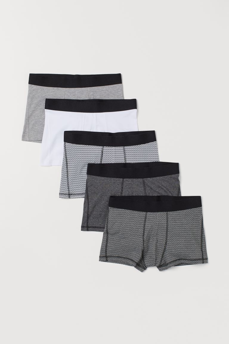 5-pack short trunks - Grey/Patterned - Men | H&M IN