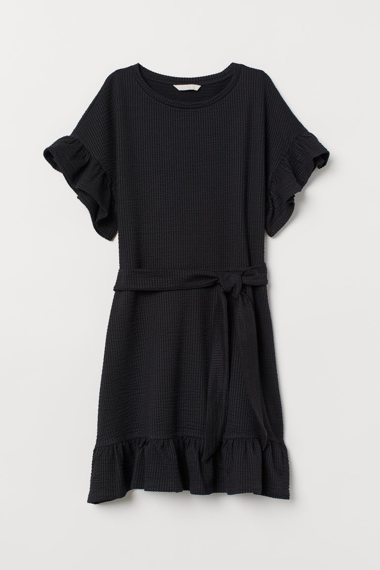 Ruffled Dress - Black - Ladies | H&M CA