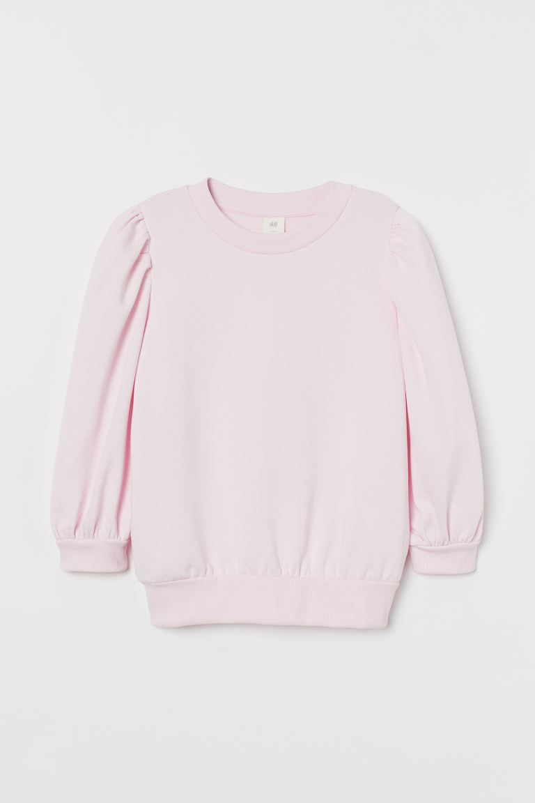 Puff-sleeved sweatshirt - Light pink - Ladies | H&M