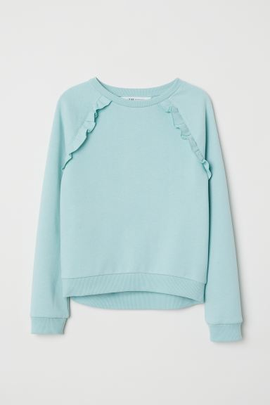 Sweatshirt with frills - Light turquoise - Kids | H&M GB