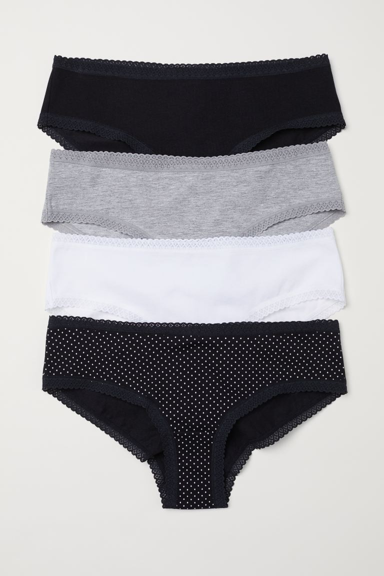 4-pack cotton hipster briefs - Black/Spotted - Ladies | H&M IN
