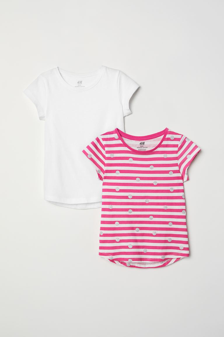 2-pack T-shirts - White/pink striped -  | H&M US