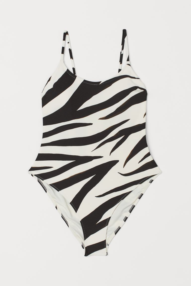 Swimsuit with padded cups - White/Zebra print - Ladies | H&M