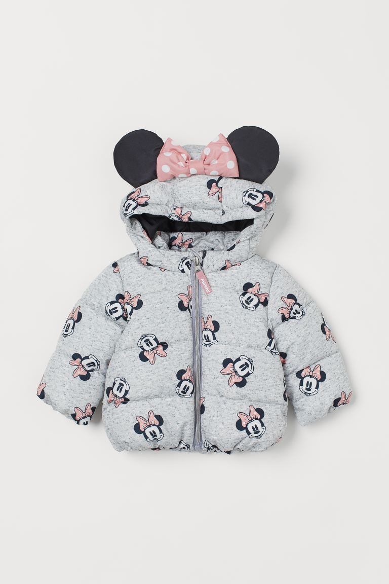 Hooded padded jacket - Light grey marl/Minnie Mouse - Kids | H&M