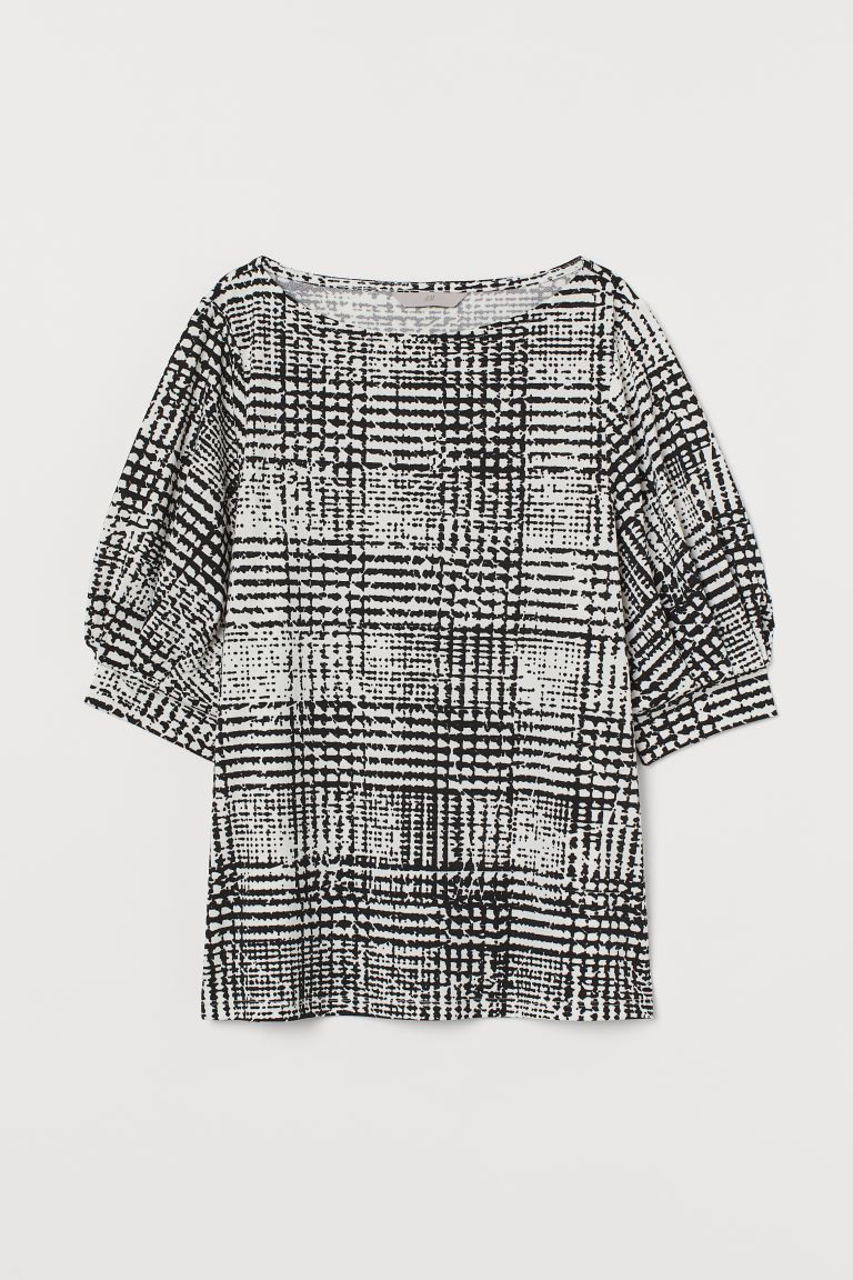 Jersey crêpe top - White/Black checked - Ladies | H&M