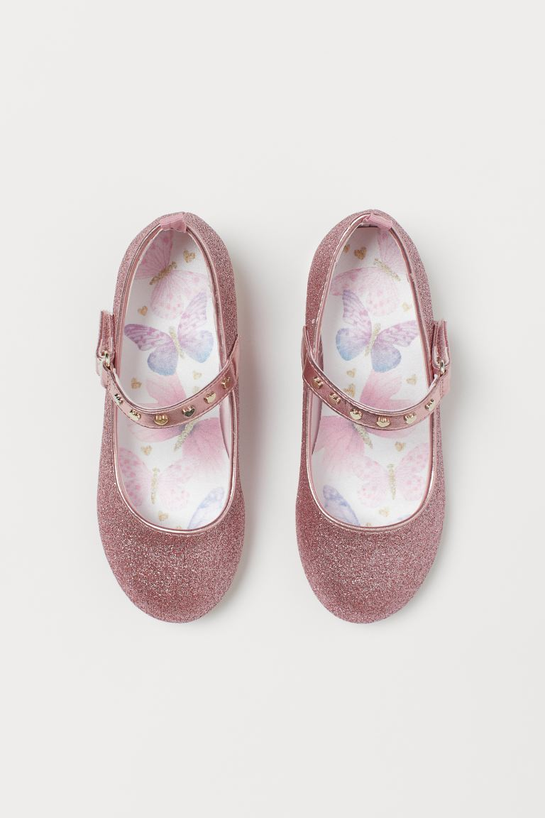 Glittery ballet pumps - Pink/Butterflies - Kids | H&M GB