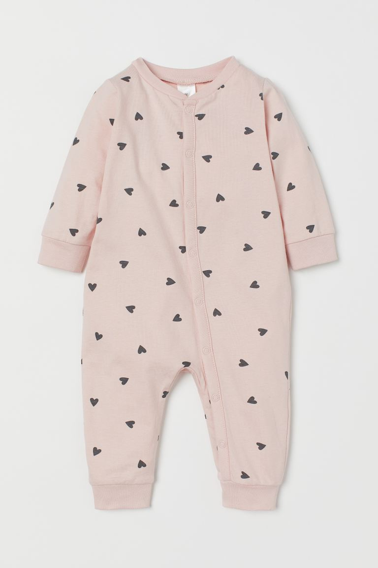 Cotton all-in-one pyjamas - Powder pink/Hearts - Kids | H&M GB