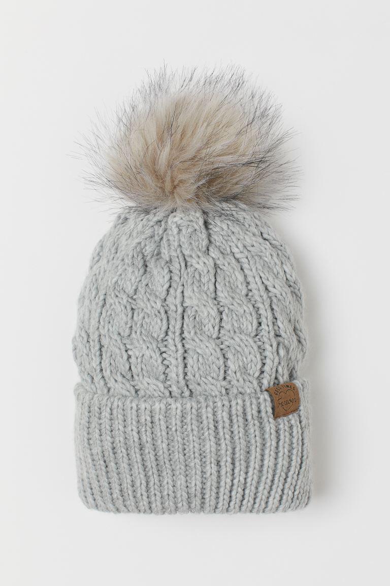 Knitted pompom hat - Light grey -    H&M GB