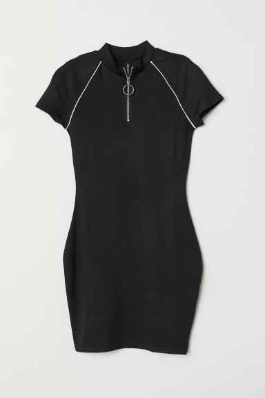 Jersey dress with a zip - Black - Ladies | H&M GB