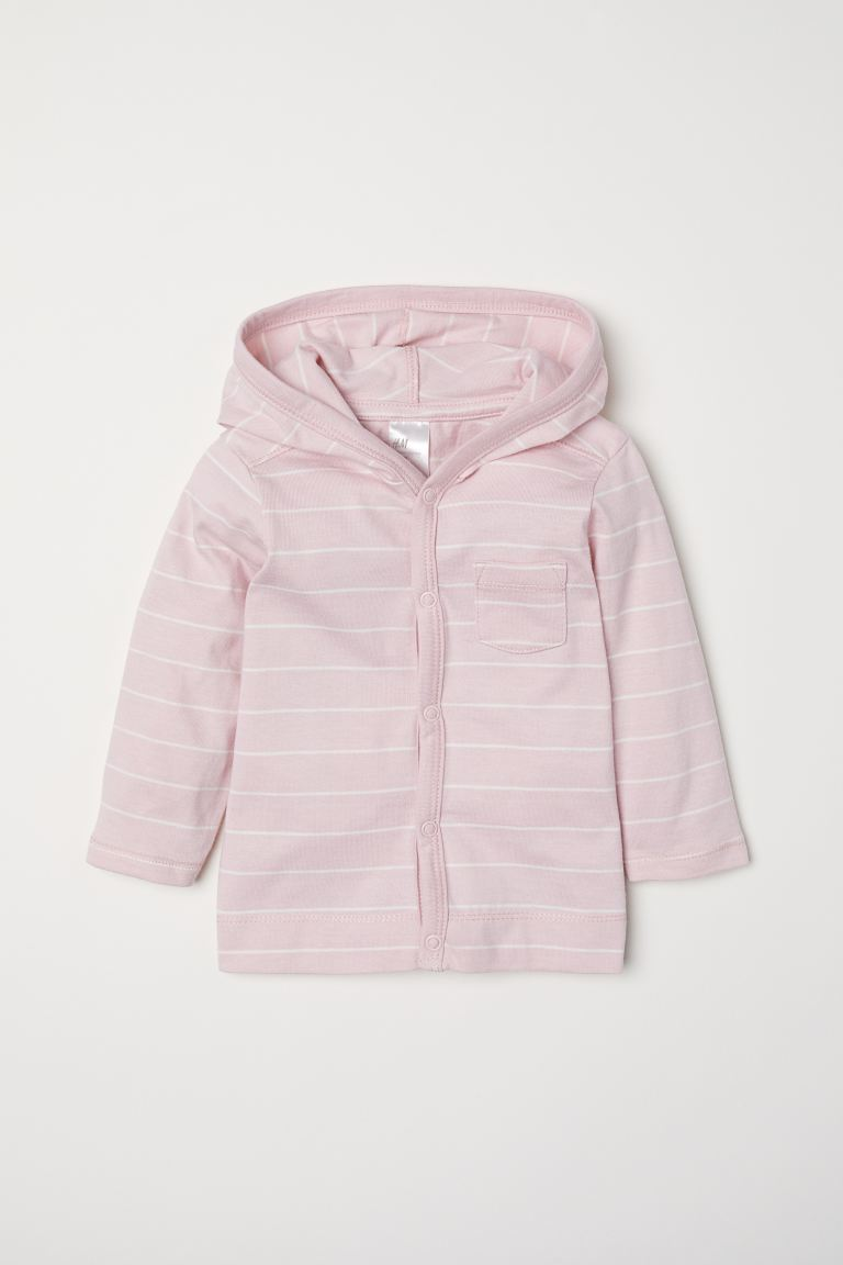 Jersey hooded cardigan - Light pink/Striped -  | H&M