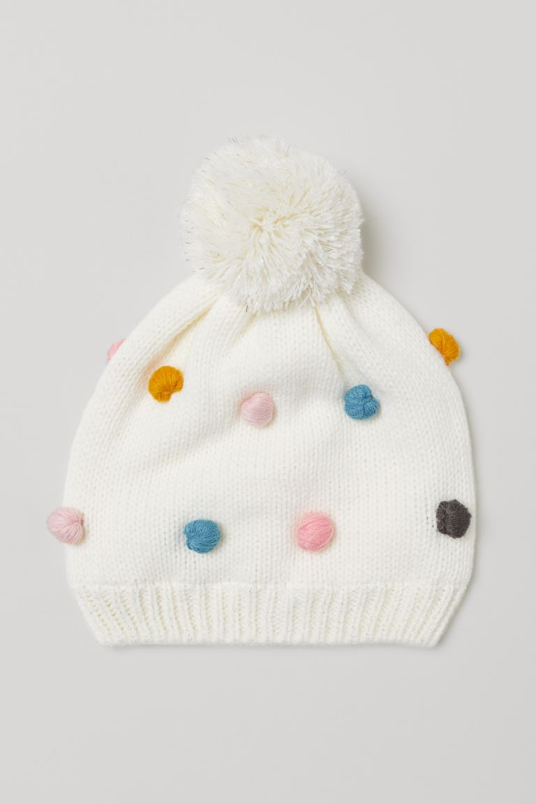 Knit Hat - Natural white/pompoms - Kids | H&M US