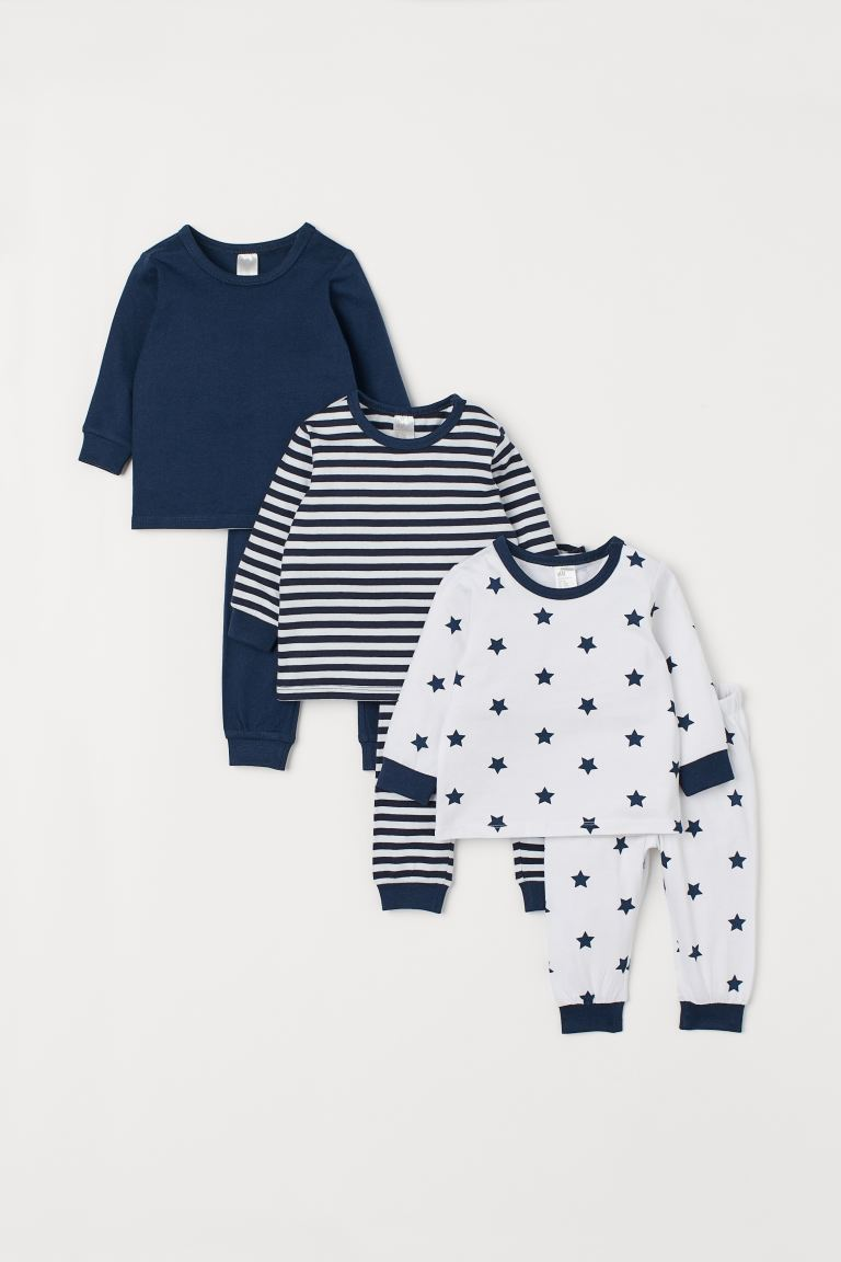 3-pack pyjamas - Dark blue/Stars - Kids | H&M GB