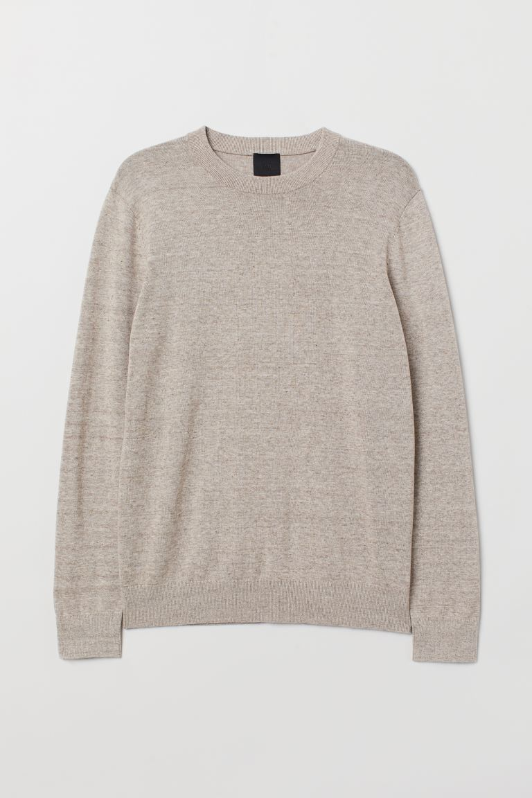 Fine-knit jumper - Light beige marl - Men | H&M IN