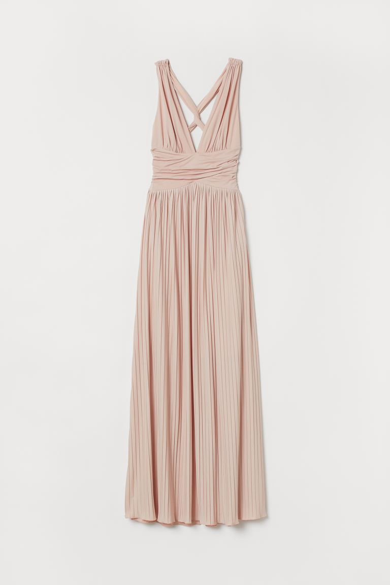 Wonderbaarlijk Maxi-jurk met plissérok - Poederbeige - DAMES | H&M BE YM-25
