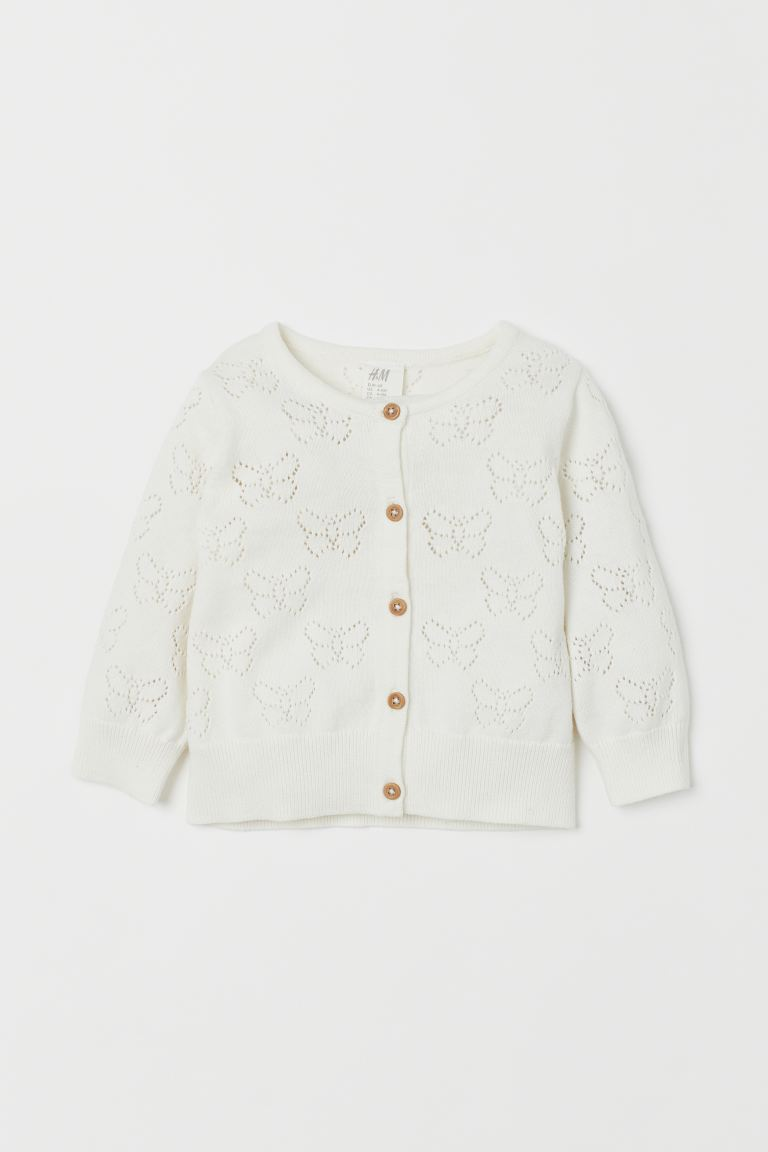 Cardigan in maglia a pointelle - Bianco - BAMBINO | H&M IT