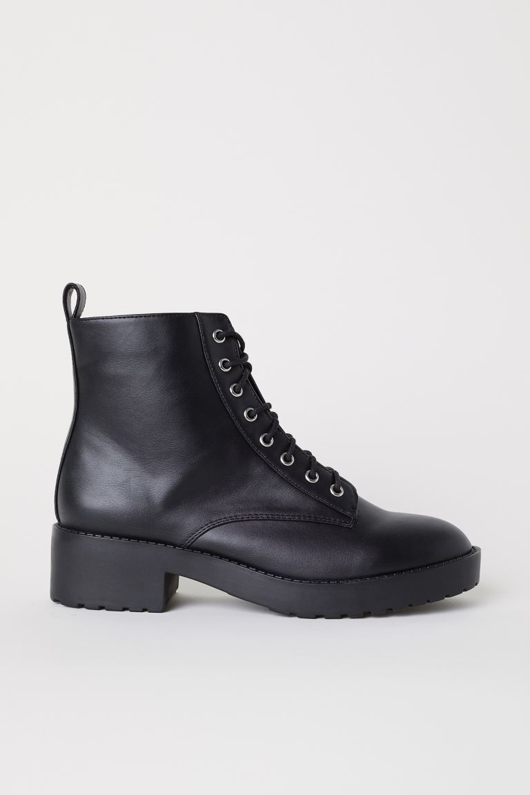 Boots with lacing - Black - Ladies | H&M