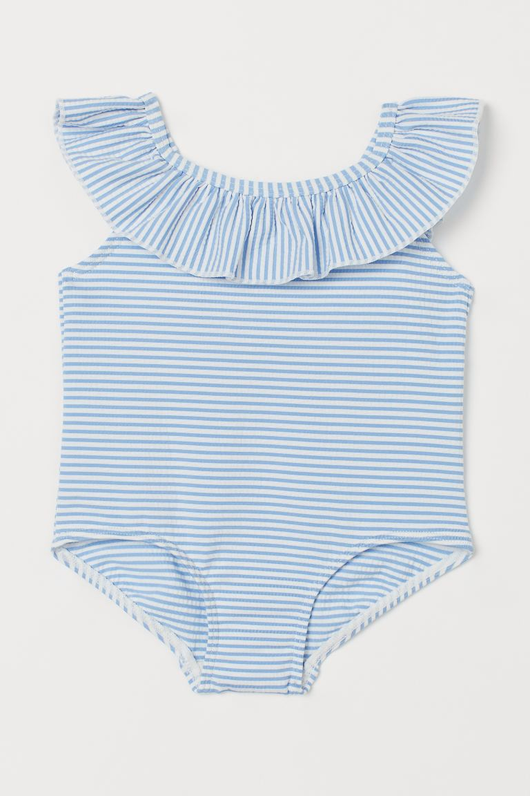 Flounce-trimmed swimsuit - Light blue/Striped - Kids | H&M