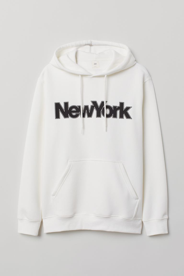 Printed hooded top - White/New York - Men | H&M IE