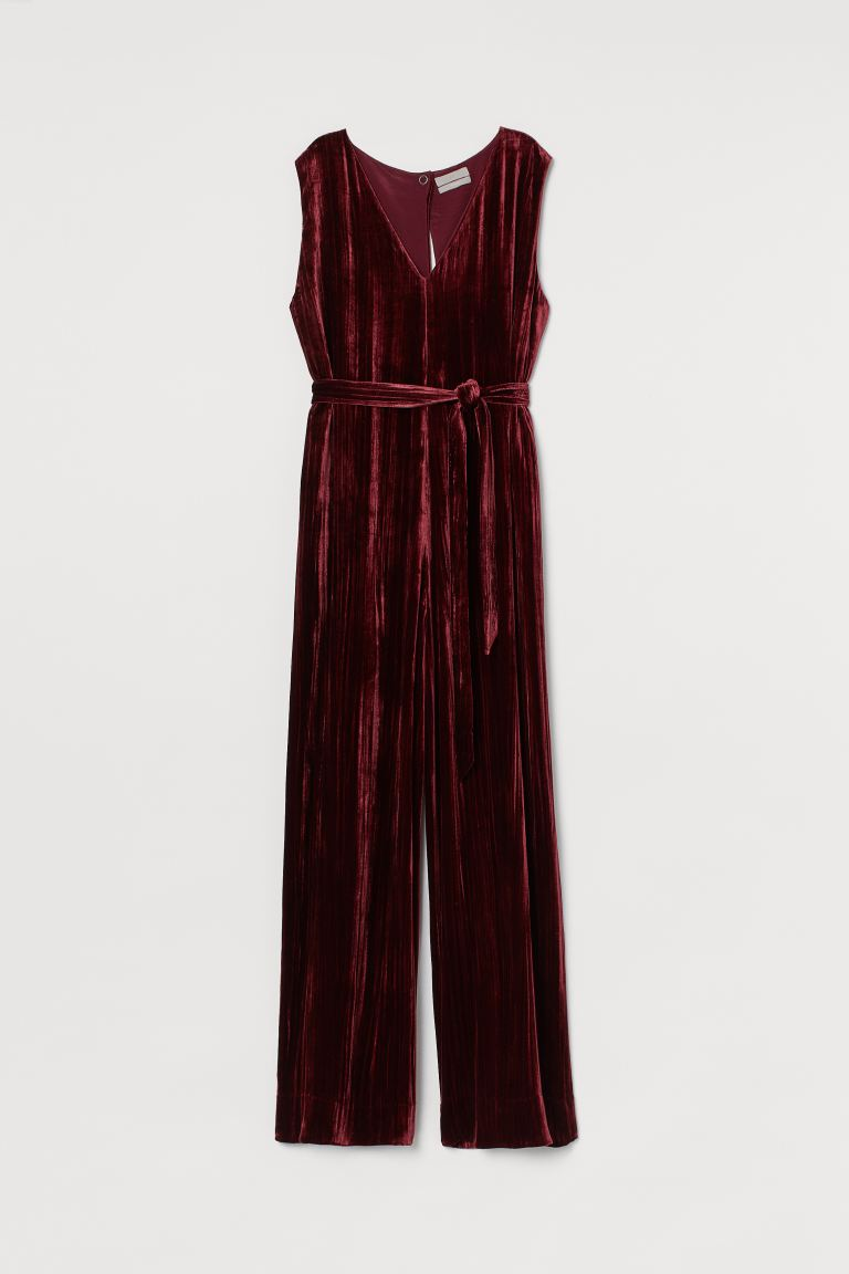 Velvet jumpsuit - Burgundy - Ladies | H&M IE
