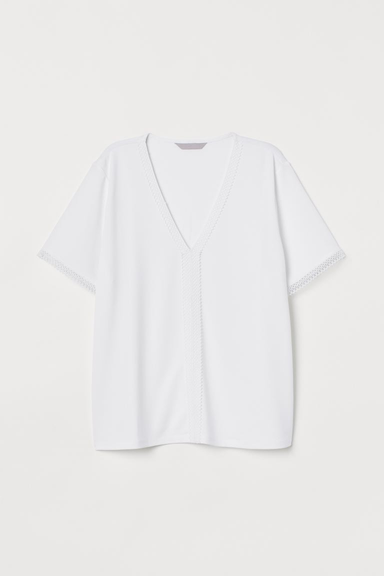 Top with lace trims - White - Ladies | H&M