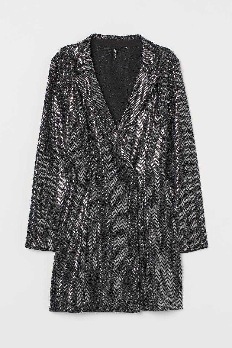 Sequined jacket dress - Black/Silver-coloured - Ladies | H&M GB