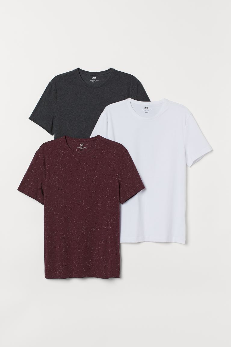 3-pack T-shirts Slim Fit - White/Burgundy/Dark grey - Men | H&M