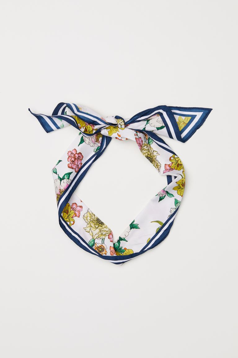 Patterned hair scarf - White/Floral - Ladies | H&M GB