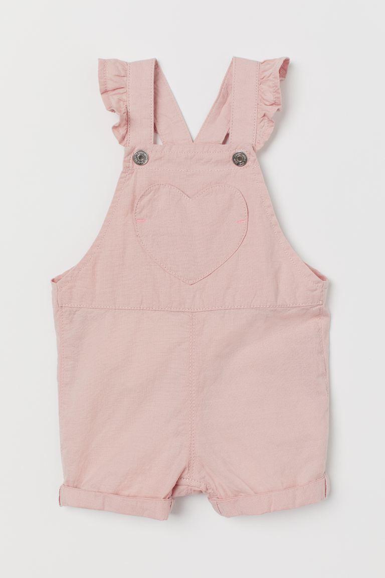 Flounce-trim dungaree shorts - Powder pink - Kids   H&M GB