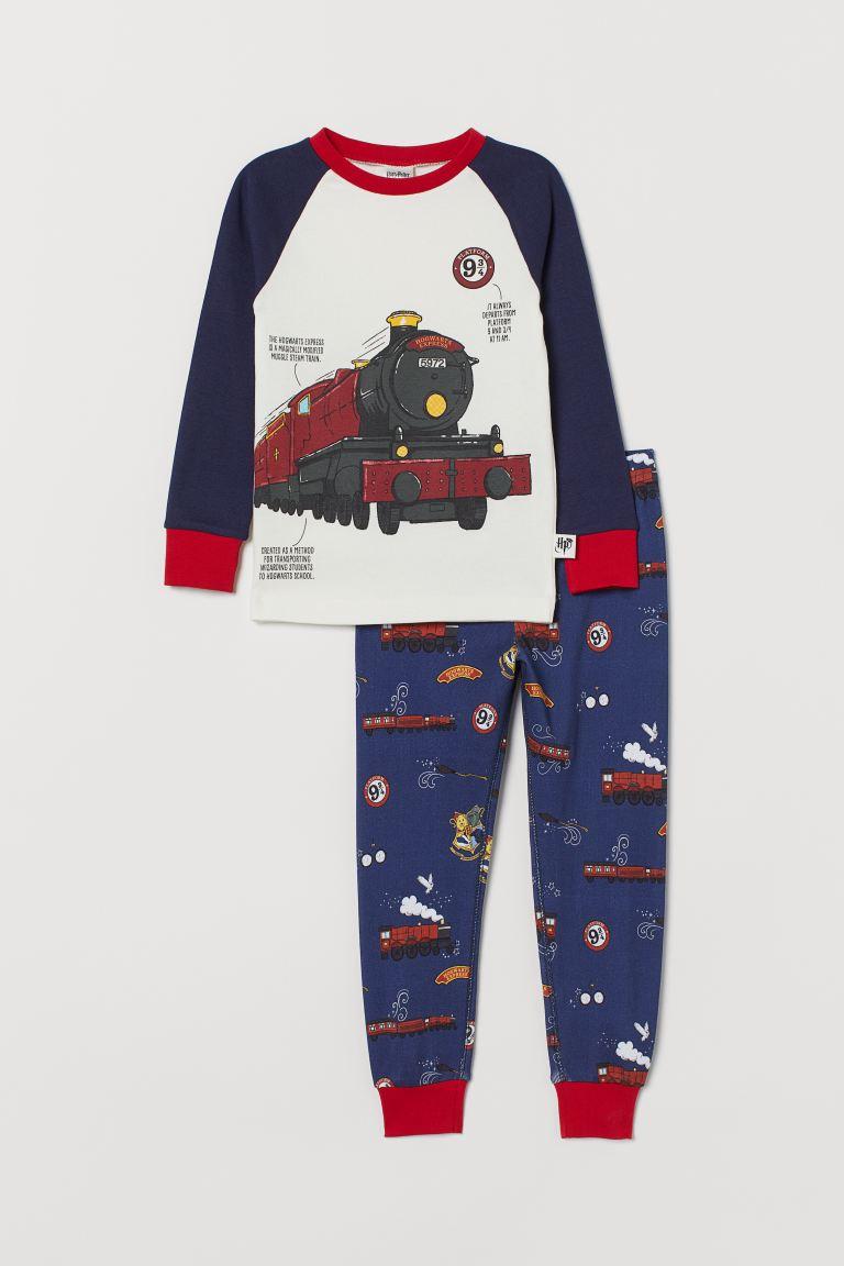 Printed pyjamas - Dark blue/Hogwarts Express - Kids | H&M GB