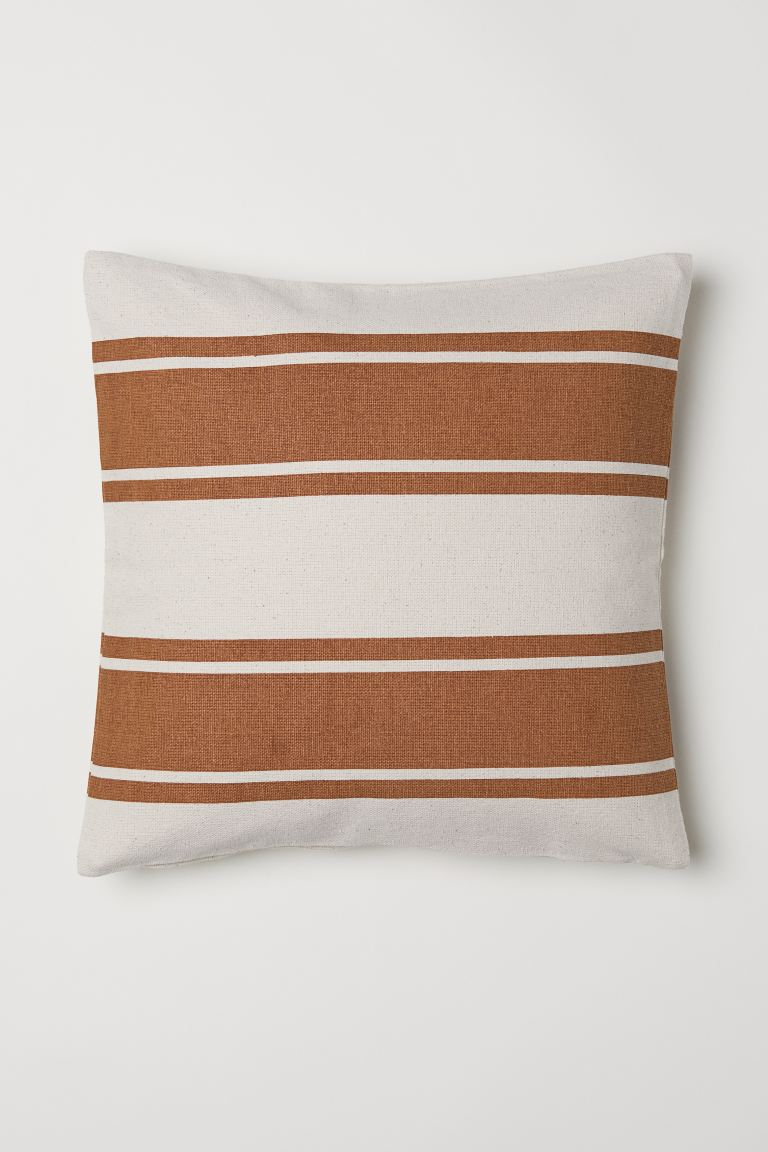Striped cushion cover - Brown/Natural white - Home All | H&M GB