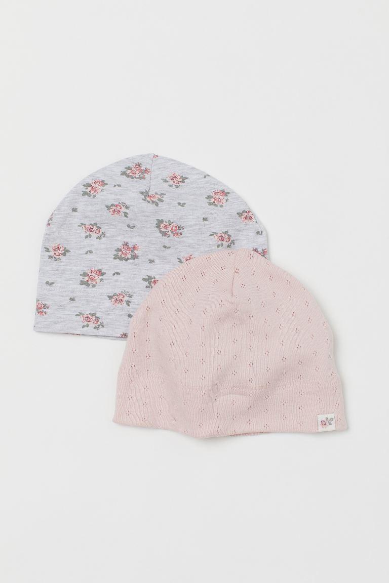 2-pack jersey hats - Light pink/Pointelle - Kids | H&M GB