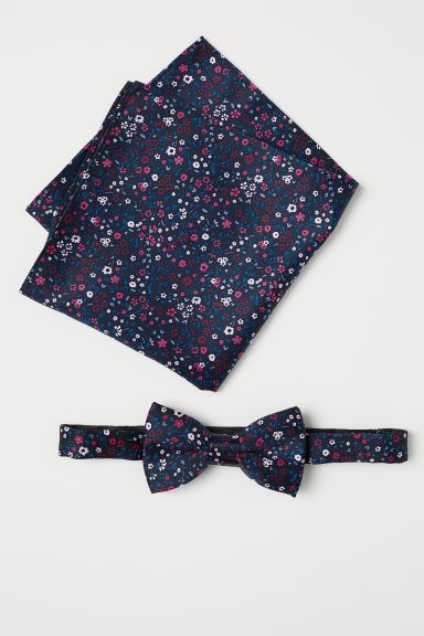 Bow Tie and Handkerchief - Dark blue/floral - Men | H&M US