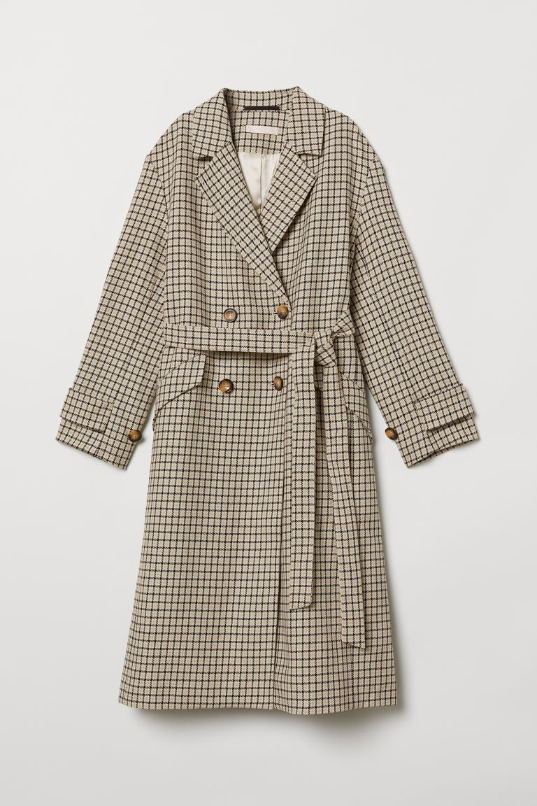 Double-breasted coat - Beige/Checked - Ladies | H&M IE