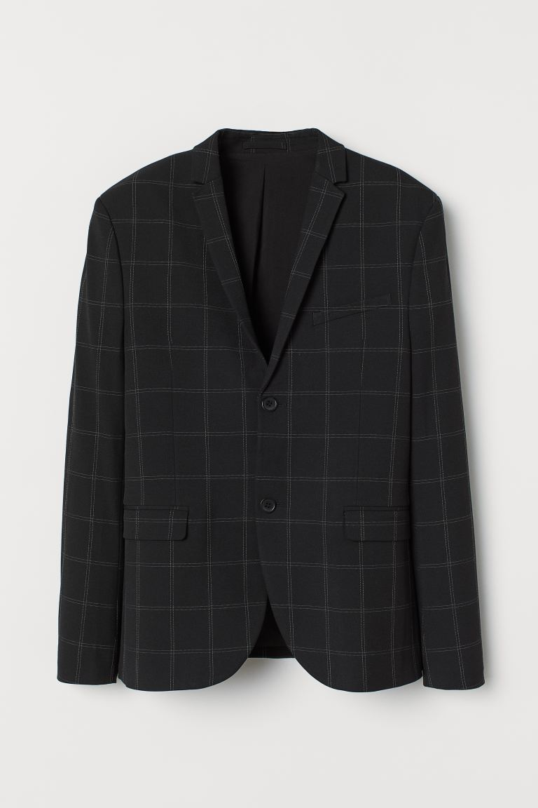 Checked jacket Skinny Fit - Black/White checked - Men | H&M GB