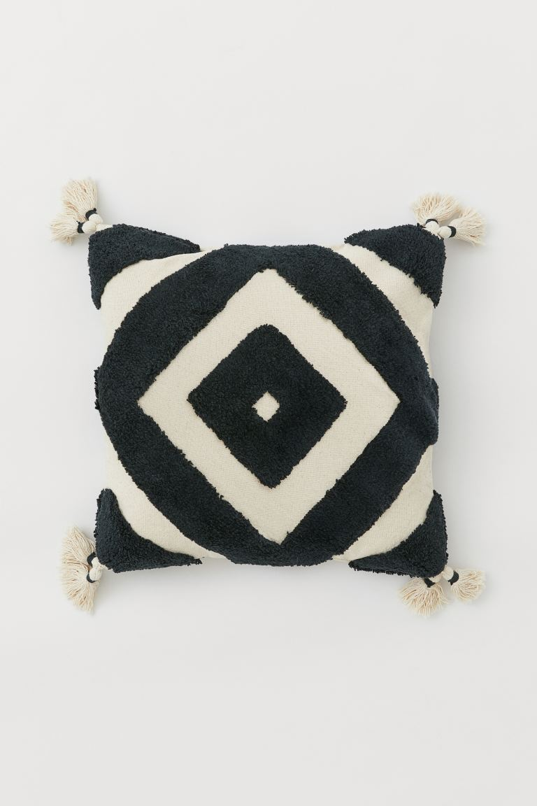 Cushion Cover with Tassels - Light beige/charcoal gray - Home All | H&M US