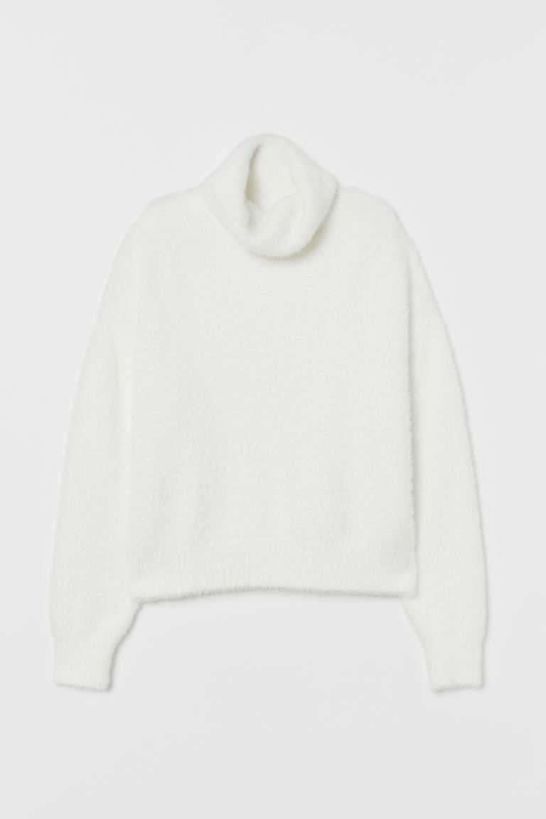 Fluffy polo-neck jumper - Cream - Ladies | H&M GB