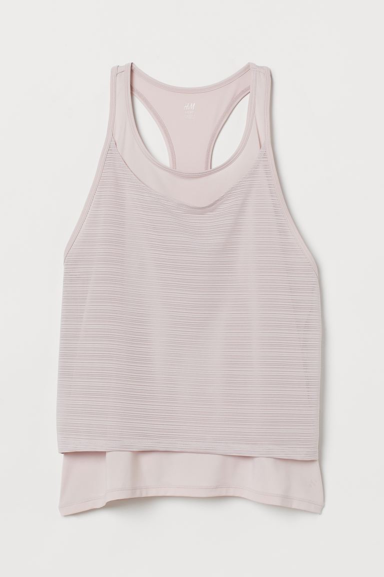 Double-layered sports vest top - Light pink - Ladies | H&M GB