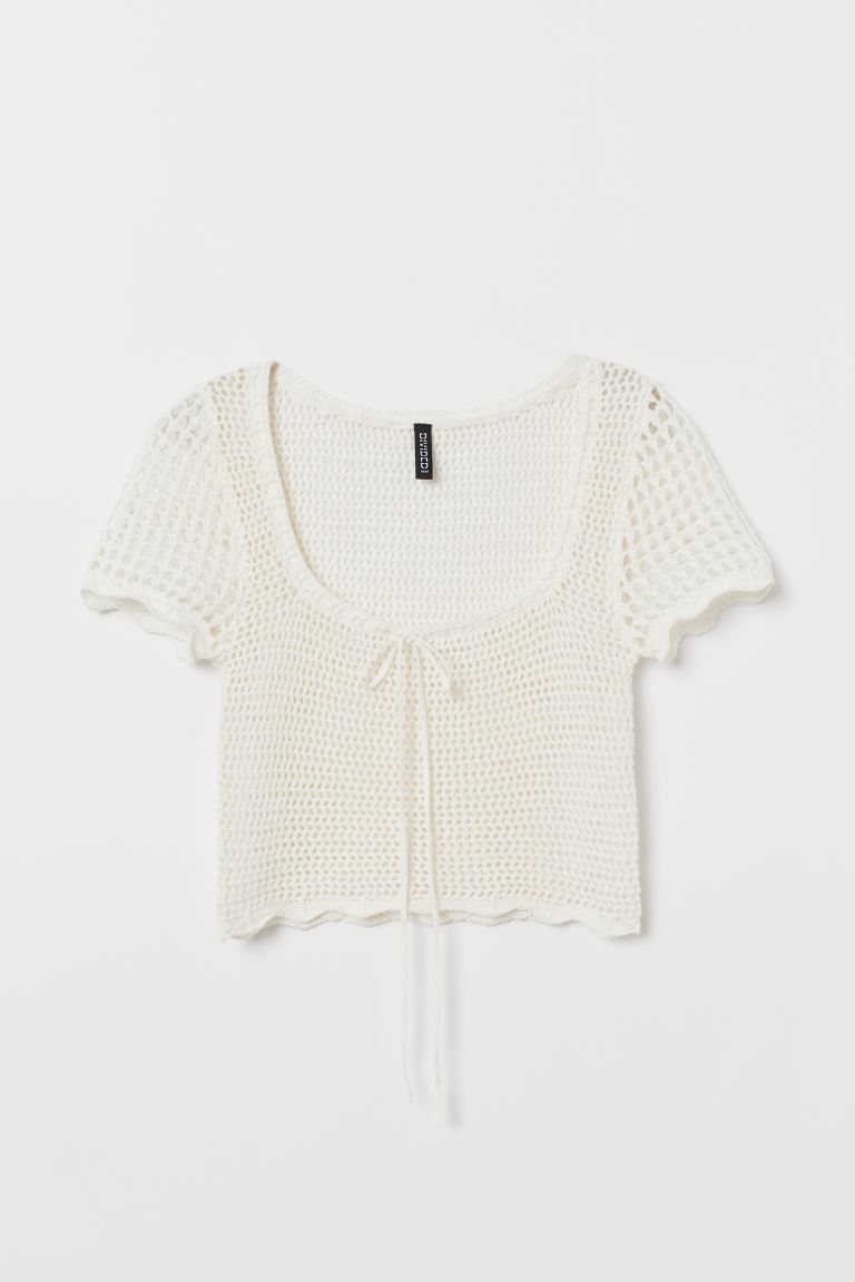Crocheted Top - Natural white - Ladies | H&M US