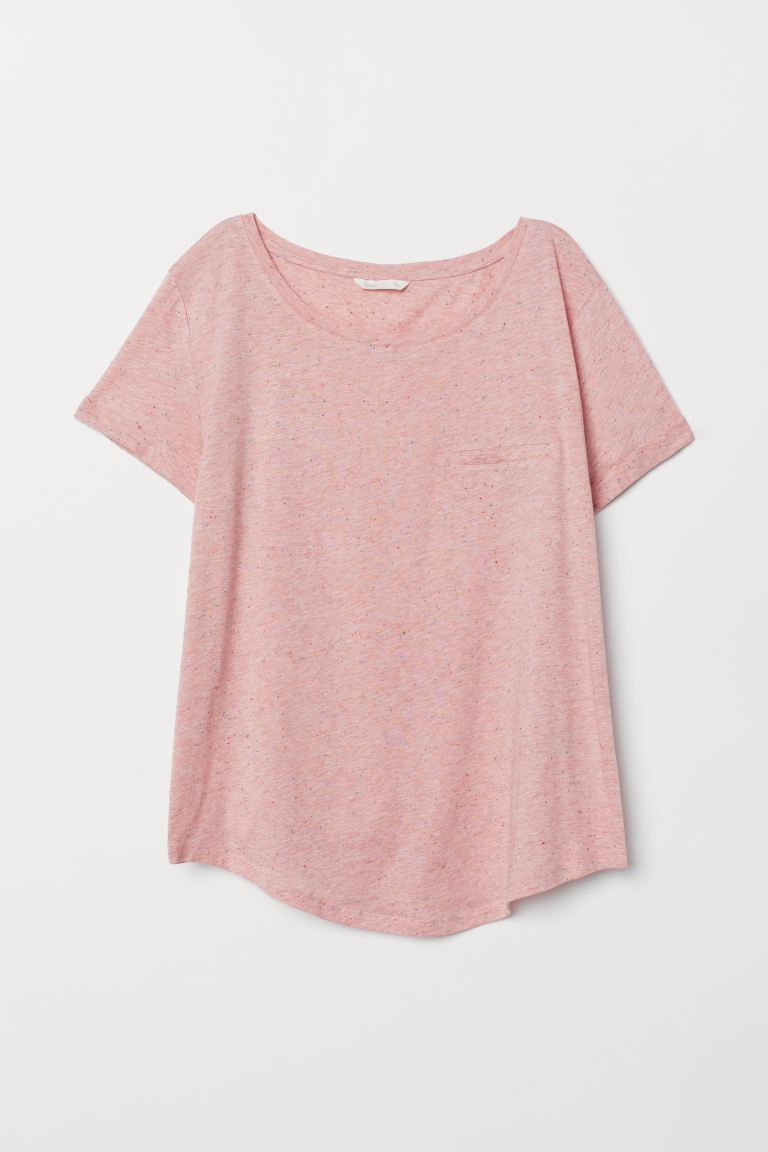 T-shirt med rund hals - Lys rosa/Neppet - DAME | H&M NO