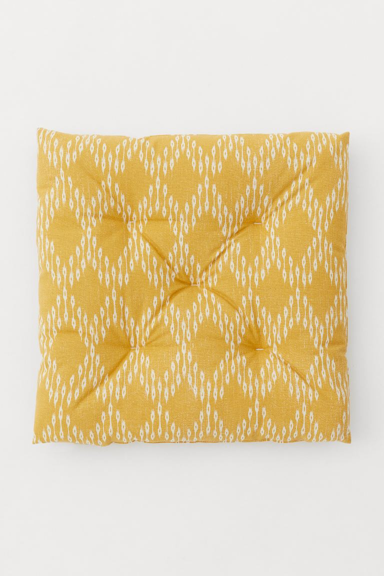 Patterned Cotton Seat Cushion - Dark yellow/patterned - Home All | H&M US