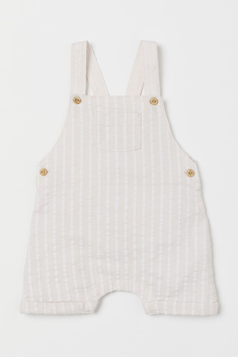 Linen-blend dungarees - Beige/White striped - Kids | H&M