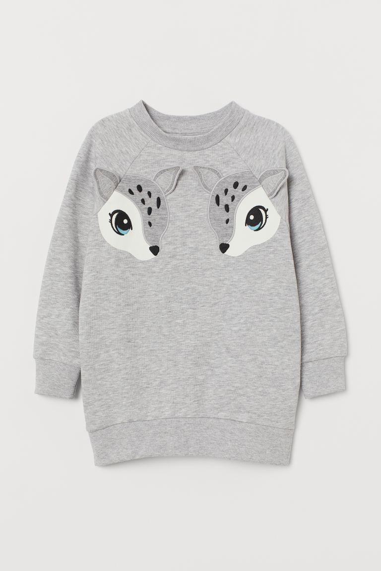 Sweatshirt with a motif - Light grey marl/Deer -    H&M GB