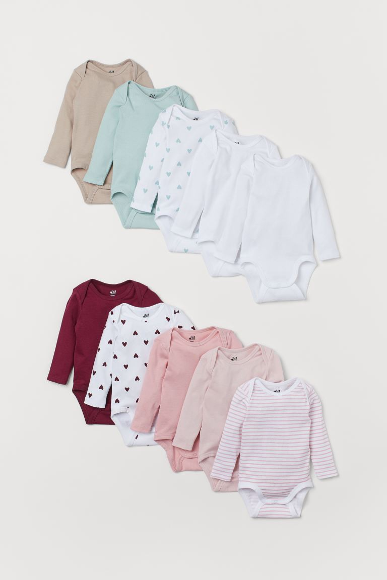 10-pack Long-sleeved Bodysuits - Pink - Kids | H&M CA