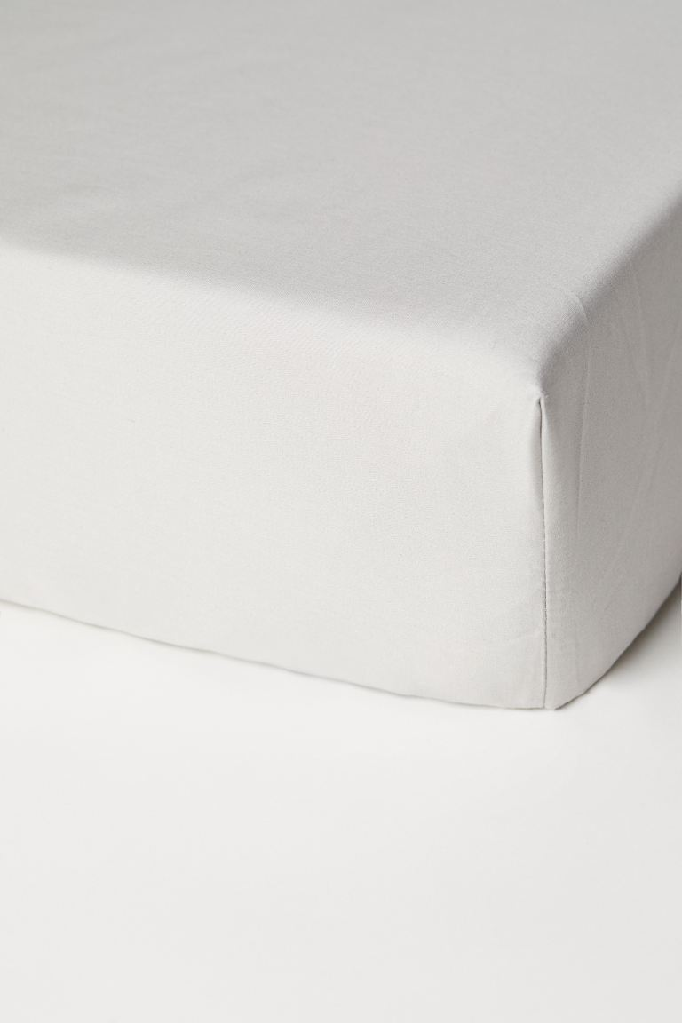 Fitted cotton satin sheet - Light mole - Home All   H&M GB