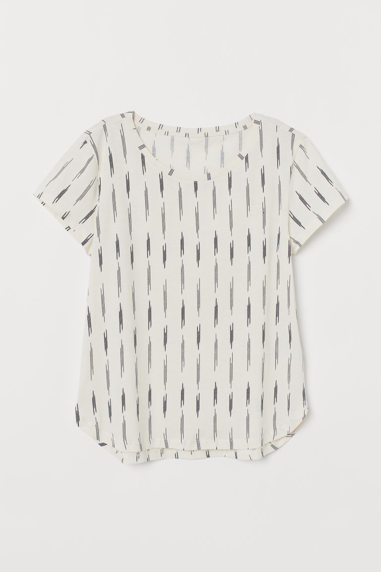 Jersey Top - White/patterned - Ladies | H&M CA